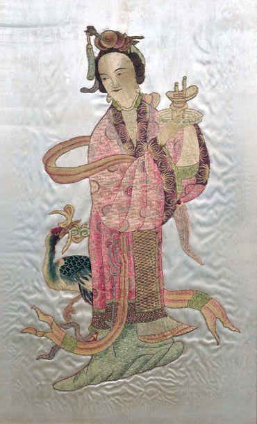 CHINE, Fin XIXe siècle  Grand panneau en...
