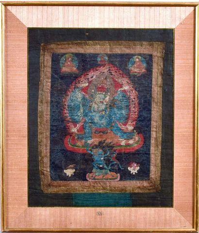 TIBET, XIXème siècle  Thangka, détrempe sur...