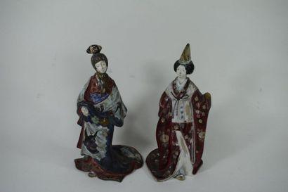 JAPON, Début du XXème siècle  Deux statuette...