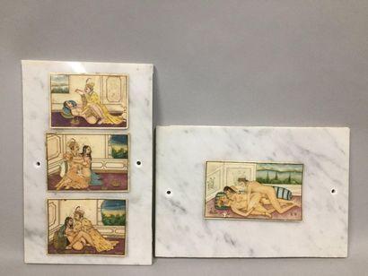 INDE, XIXème siècle  Ensemble de quatre miniatures...