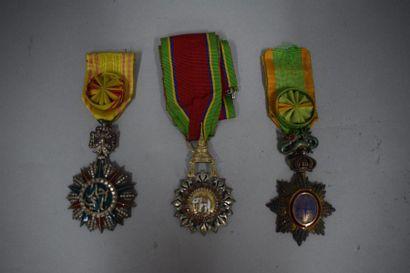 Ensemble de trois médailles :  Ordre de l'éléphant...
