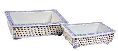 CHINE, XIXème siècle  Deux jardinières de...