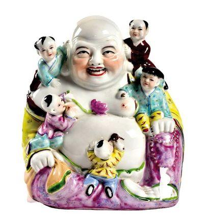 CHINE, XXème siècle  Statuette de Budai en...