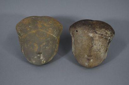 CHINE  Deux têtes de femme en terre cuite...