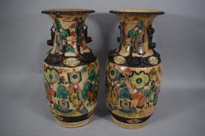 CHINE Nankin, Fin XIXème siècle  Paire de...