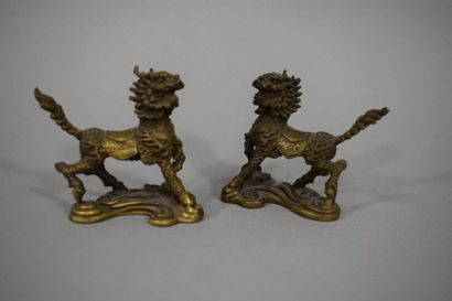 CHINE, XXème siècle  Paire de chien de Fô...