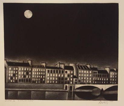 AVATI Mario (né en 1921)  Le ciel de lune,...