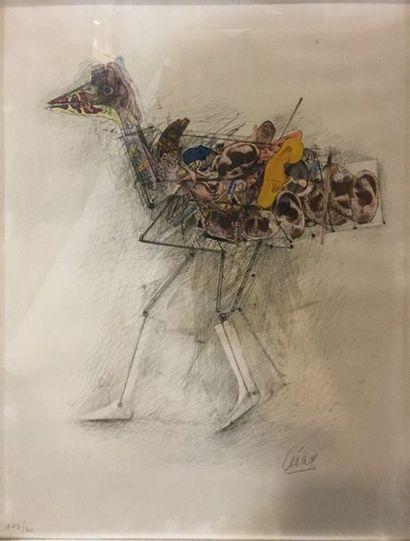 CÉSAR (1921-1998)   la poule,  Lithographie...