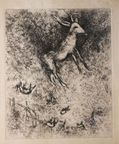 CHAGALL Marc, 1887-1985  Le cerf malade  eau-forte...