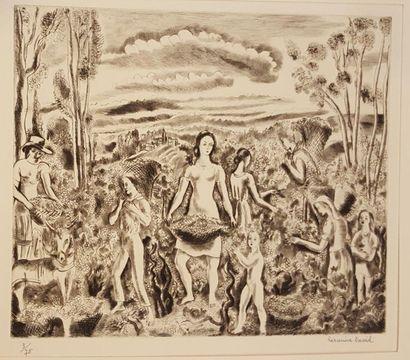 DAVID Hermine (1886-1970)  Récolte  Eau-forte...