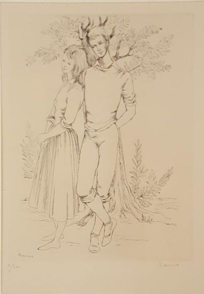 DE BRAVURA Denyse (1918-1993)  Jeune couple...
