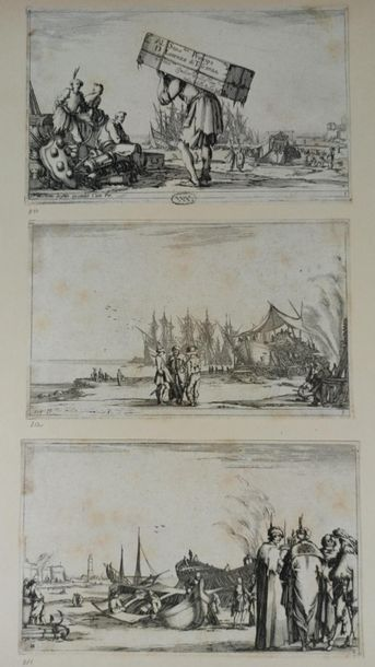 Stefano DELLA BELLA (1610 - 1664)  Varies Figure: 4 plates - Sequence of eight navies:...