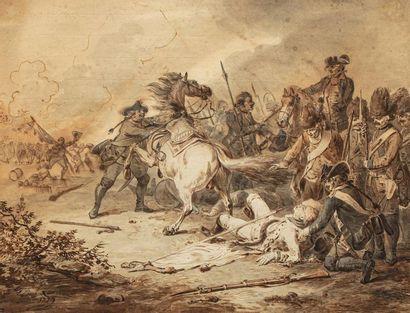 LANGENDYK Dirk  (Rotterdam, 1748 - Id. 1805)  Officier tombé de son cheval au milieu...