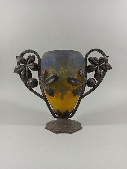 MULLER FRERES - LUNEVILLE  Vase en verre...