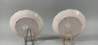 NEVERS XVIIIeme SIECLE  Deux assiettes à décor de la représentation des trois ordres...