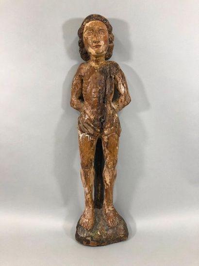 Saint Sébastien en chêne sculpté avec restes...