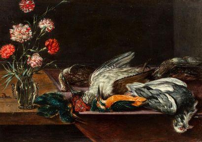 ADRIAENSSEN ALEXANDER  Anvers 1587 - id. ; 1661)  Vase d'oeillets et oiseaux des...