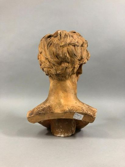 Louis Maximilien BOURGEOIS (1839-1901)  Buste de jeune homme  Terre cuite signée...