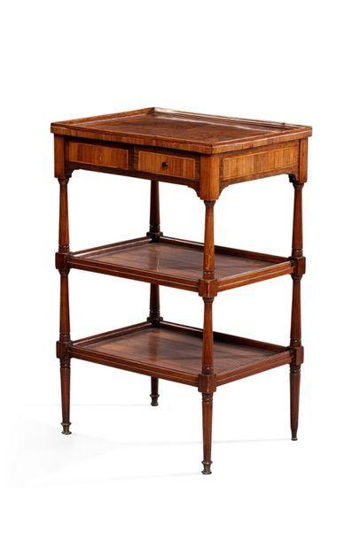 TABLE SERVANTE RECTANGULAIRE en bois de placage marqueté en feuilles, le plateau...