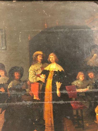 PALAMEDESZ Anthonie (Attribué à)  Delft, 1607 - Amsterdam, 1638  Scène d'intérieur...