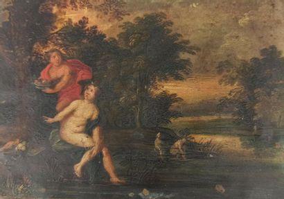 ECOLE FLAMANDE du XVIIe siècle  Le Repos...