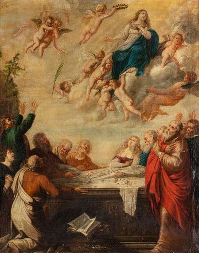 ECOLE FLAMANDE du XVIIe siècle  L'Assomption...