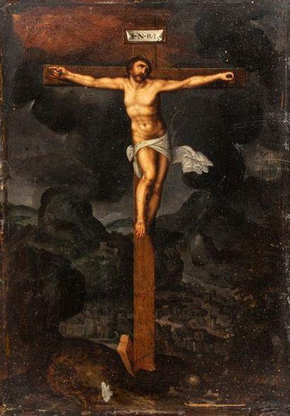 ECOLE FLAMANDE DU XVIIÈME SIECLE  Le Christ en croix  Au sommet de la croix le titulus...