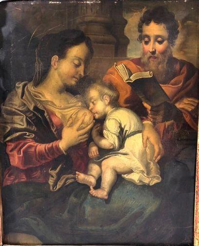 ECOLE FLAMANDE du XVII siècle  Le repos de la Sainte Famille  Huile sur cuivre (petits...
