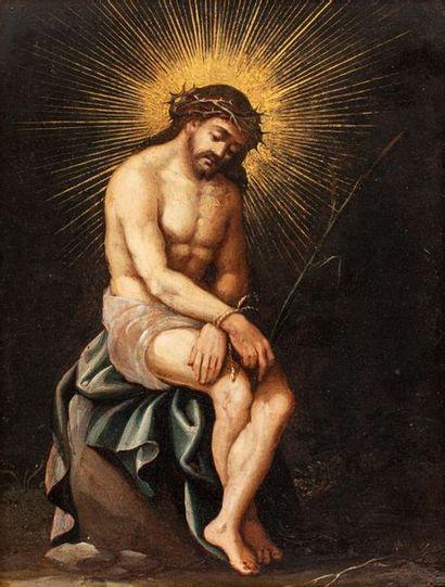 ECOLE FLAMANDE DU XVIIÈME SIECLE  Le Christ aux liens  Huile sur cuivre et peintures...
