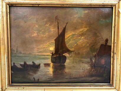 ECOLE HOLLANDAISE du XIXe siècle  Barques...