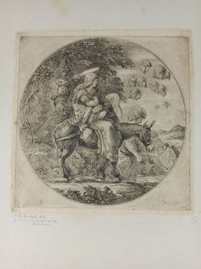 Stefano DELLA BELLA (1610 - 1664)  The Blessed Virgin and Child Jesus - Flight to...