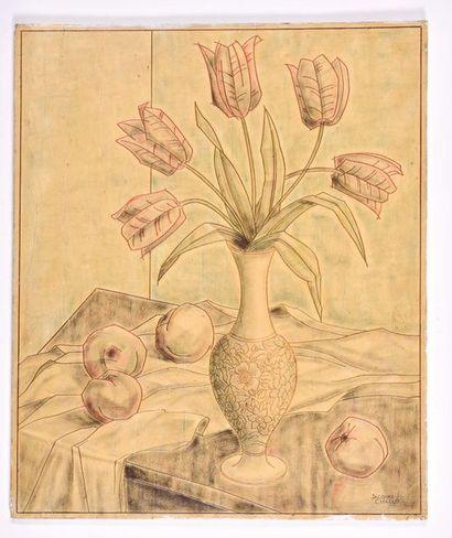 Jacques CHALLOU  Bouquet de tulipes et pêches....
