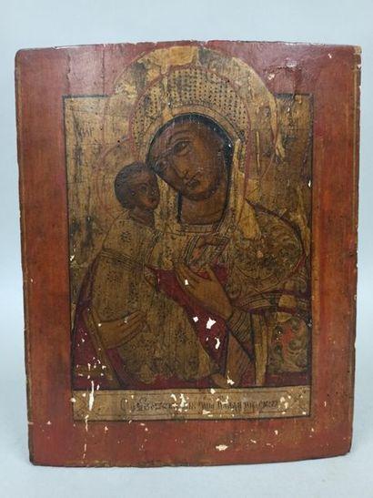 Icône de la Vierge de Vladimir. Tempera...