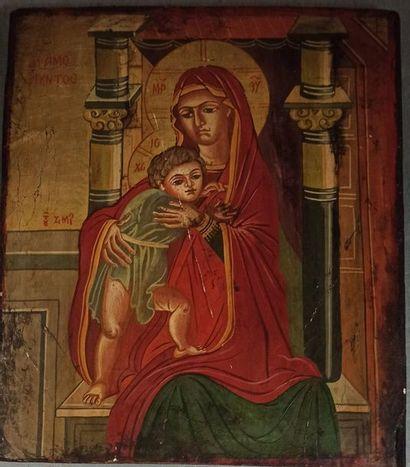 icône Vierge à l'enfant, 31 x 26.5 cm (a...