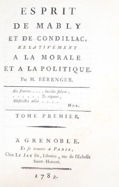 BÉRENGER (Laurent-Pierre). Esprit de Mably...
