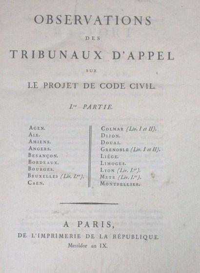 CODE CIVIL. - OBSERVATIONS des tribunaux...