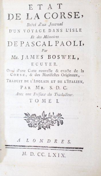 BOSWELL (James). État de la Corse, suivi...