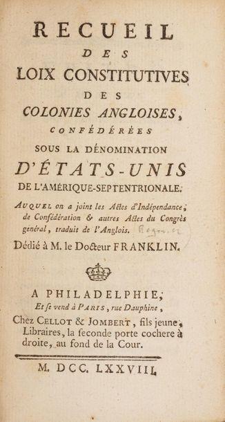 CONSTITUTION DES ÉTATS-UNIS. - RECUEIL des...