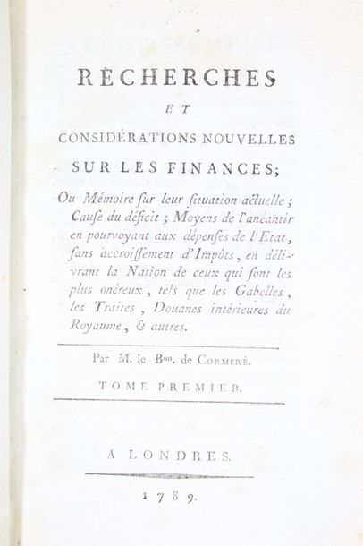 CORMERÉ (Guillaume-François de Mahy, baron...