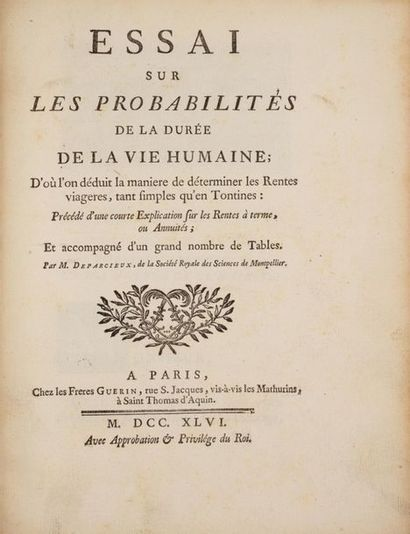 DEPARCIEUX (Antoine). Essai sur les probabilités...
