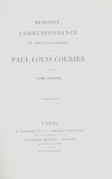 COURIER (Paul-Louis). Mémoires, correspondance...