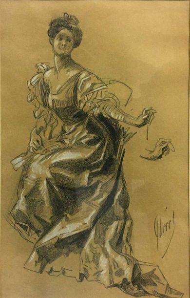 CHÉRET Jules, 1836-1932, Élégante assise,...