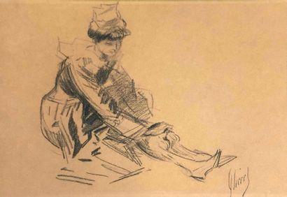 CHÉRET Jules, 1836-1932, Femme se chaussant,...