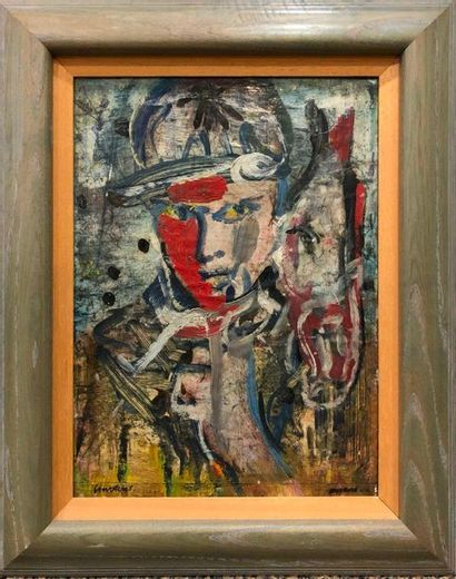 COURTENS Pierre, 1921-2004,  Un jokey,  peinture...