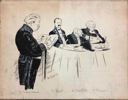 DE LOSQUES Daniel, 1880-1915,  Quatre académiciens,dessin...