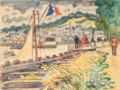 DE SAINT DELIS Henri Liénard, 1878-1949  Promeneurs...