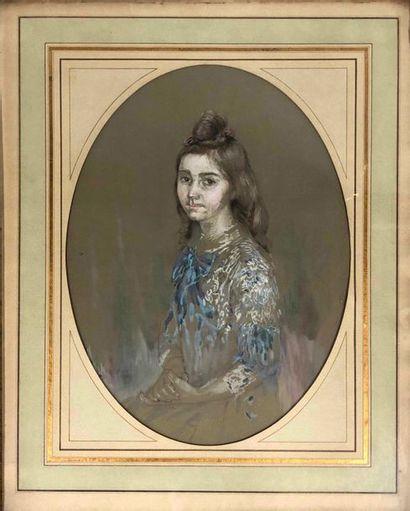 ANONYME, fin XIXe siècle,  Portrait de jeune...