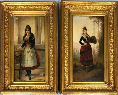 DUVAL P., XIXe siècle,  Femmes en costume...