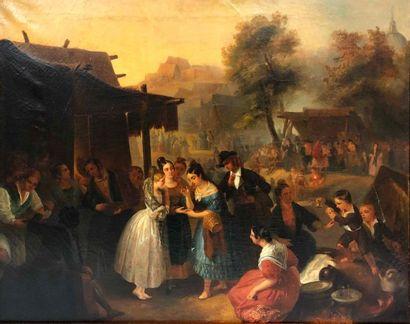 ÉCOLE ESPAGNOLE XIXe siècle,  Fête de village,...