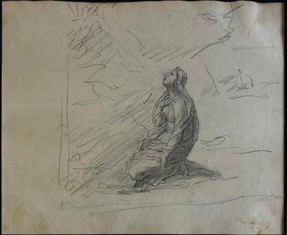 ÉCOLE FRANÇAISE XIXe siècle Vierge agenouillée,\dessin...